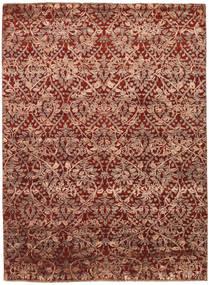 Damask Indo Matto 177X242 Moderni Käsinsolmittu Tummanpunainen/Ruskea/Vaaleanruskea ( Intia)
