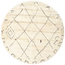 Almaaz - White Rug Ø 200 Authentic  Modern Handknotted Round Beige (Wool, India)