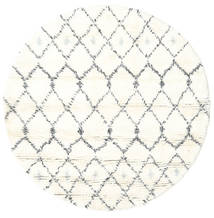 Sauda - Natural Grey Rug Ø 150 Authentic  Modern Handknotted Round Beige/White/Creme (Wool, India)