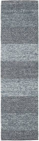 Folke - Denim Blå Tæppe 80X300 Ægte Moderne Håndvævet Tæppeløber Lysegrå/Mørkegrå (Uld, Indien)