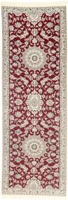 Nain 9La Rug 95X283 Authentic  Oriental Handknotted Hallway Runner  Light Grey/Light Pink/Dark Red (Wool/Silk, Persia/Iran)