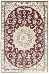 Nain 9La Rug 89X138 Authentic  Oriental Handknotted Dark Red/Light Grey (Wool/Silk, Persia/Iran)