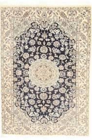 Nain 9La Alfombra 145X210 Oriental Hecha A Mano Gris Claro/Blanco/Crema (Lana/Seda, Persia/Irán)