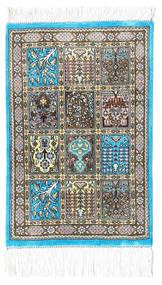 Ghom Seide Teppich 30X40 Echter Orientalischer Handgeknüpfter Beige/Dunkelgrau/Hellgrau (Seide, Persien/Iran)