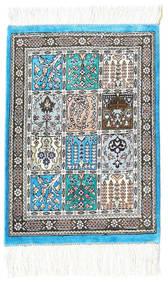 Ghom Silkki Matto 30X40 Itämainen Käsinsolmittu Tummanharmaa/Vaaleanharmaa (Silkki, Persia/Iran)