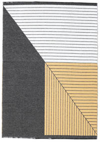 Diagonal - Black/Yellow Rug 150X210 Modern Dark Grey/Beige ( Sweden)