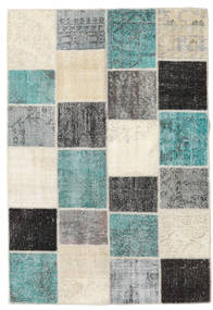 Patchwork Rug 160X234 Authentic  Modern Handknotted Beige/Turquoise Blue (Wool, Turkey)