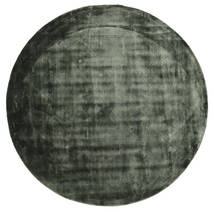 Brooklyn - Moss Green Rug Ø 200 Modern Round Dark Green/Black ( India)