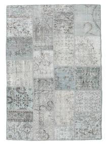 Patchwork Tapete 140X201 Moderno Feito A Mão Cinzento Claro/Bege (Lã, Turquia)