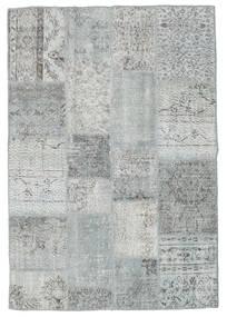 Patchwork Tapis 138X202 Moderne Fait Main Gris Clair/Bleu Turquoise (Laine, Turquie)