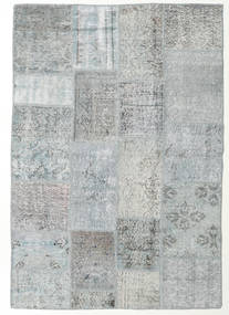 Patchwork Rug 140X202 Authentic  Modern Handknotted Light Grey/Turquoise Blue (Wool, Turkey)