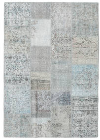 Patchwork Rug 140X201 Authentic  Modern Handknotted Light Grey/Light Blue (Wool, Turkey)