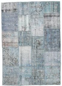 Patchwork Matto 136X195 Moderni Käsinsolmittu Vaaleansininen/Vaaleanharmaa (Villa, Turkki)