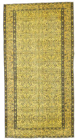 Colored Vintage Rug 140X267 Authentic  Modern Handknotted Yellow/Olive Green (Wool, Turkey)