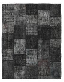 Patchwork Matto 197X251 Moderni Käsinsolmittu Musta/Tummanharmaa (Villa, Turkki)