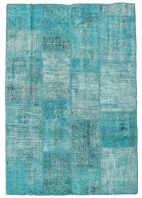 Patchwork Rug 139X201 Authentic  Modern Handknotted Turquoise Blue/Light Blue (Wool, Turkey)