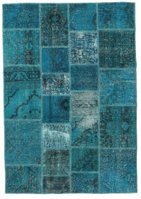 Patchwork Rug 140X200 Authentic  Modern Handknotted Dark Turquoise  /Dark Blue (Wool, Turkey)