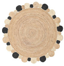 Solana Dot Jute - Natural/Black Rug Ø 150 Authentic  Modern Handwoven Round Dark Beige/Light Brown ( India)