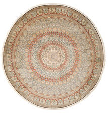 Kashmir Pure Silk Rug Ø 248 Authentic Oriental Handknotted Round Light Brown/Light Pink (Silk, India)