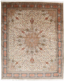 Kashmir Pure Silk Rug 250X309 Authentic  Oriental Handknotted Light Brown/Light Grey Large (Silk, India)