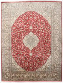 Kashmir Tiszta Selyem Szőnyeg 279X363 Keleti Csomózású Világosbarna/Világosszürke Nagy (Selyem, India)