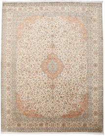 Kashmir Pure Silk Rug 277X360 Authentic Oriental Handknotted Light Brown/Light Grey Large (Silk, India)