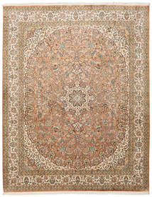 Kashmir Pure Silk Rug 204X257 Authentic  Oriental Handknotted Light Brown/Brown (Silk, India)