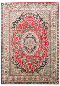 Kashmir Pure Silk Rug 221X311 Authentic  Oriental Handknotted Light Brown/Light Pink (Silk, India)
