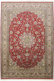 Kashmir Pure Silk Rug 172X248 Authentic  Oriental Handknotted Light Brown/Dark Red (Silk, India)