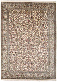 Kashmir Pure Silk Rug 177X247 Authentic  Oriental Handknotted Light Grey/Dark Red (Silk, India)