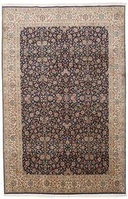 Kashmir Pure Silk Rug 164X252 Authentic  Oriental Handknotted Black/Light Grey (Silk, India)