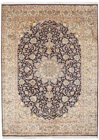Kashmir 100% Silkki Matto 174X239 Itämainen Käsinsolmittu Vaaleanruskea/Vaaleanpunainen (Silkki, Intia)