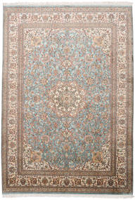 Kashmir Pure Silk Rug 174X250 Authentic Oriental Handknotted Light Brown/Light Grey (Silk, India)