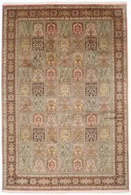Kashmir Pure Silk Rug 185X276 Authentic Oriental Handknotted Light Brown/Brown (Silk, India)