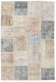 Patchwork Tapis 159X232 Moderne Fait Main Gris Clair/Marron Clair (Laine, Turquie)