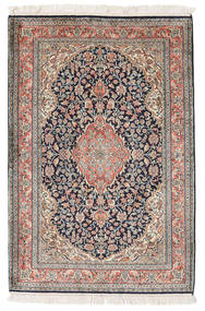 Kashmir Ren Silke Teppe 82X122 Ekte Orientalsk Håndknyttet Lys Grå/Beige (Silke, India)
