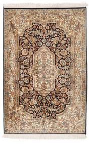 Kashmir 100% Silkki Matto 83X125 Itämainen Käsinsolmittu Ruskea/Valkoinen/Creme (Silkki, Intia)