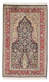 Kashmir 100% Silkki Matto 79X128 Itämainen Käsinsolmittu Beige/Vaaleanruskea (Silkki, Intia)