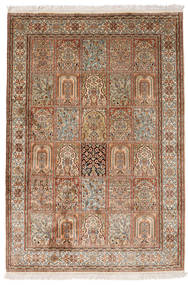 Kashmir Pure Silk Rug 126X184 Authentic  Oriental Handknotted Brown/Light Brown (Silk, India)
