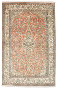 Kashmir Pure Silk Rug 124X185 Authentic  Oriental Handknotted Beige/Light Grey (Silk, India)