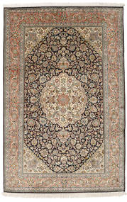 Kashmir Ren Silke Teppe 124X191 Ekte Orientalsk Håndknyttet Lysbrun/Mørk Grå (Silke, India)