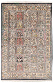 Kashmir Pure Silk Rug 125X187 Authentic  Oriental Handknotted Light Grey/Light Brown (Silk, India)