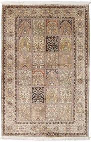 Kashmir 100% Silkki Matto 128X196 Itämainen Käsinsolmittu Vaaleanruskea/Vaaleanpunainen (Silkki, Intia)