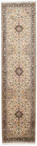 Kashmir Pure Silke Tæppe 82X330 Ægte Orientalsk Håndknyttet Tæppeløber Lysebrun/Beige (Silke, Indien)