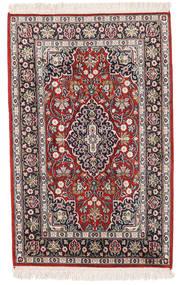 Kashmir Pure Silk Rug 61X97 Authentic Oriental Handknotted Beige/Dark Purple (Silk, India)