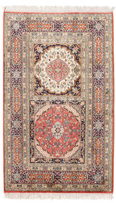 Kashmir Pure Silk Rug 79X129 Authentic Oriental Handknotted Light Brown/Beige (Silk, India)