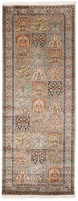 Kashmir Pure Silk Rug 81X213 Authentic Oriental Handknotted Hallway Runner Light Brown/Brown (Silk, India)