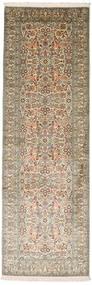 Kashmir 100% Silkki Matto 80X250 Itämainen Käsinsolmittu Käytävämatto Tummanharmaa/Vaaleanruskea (Silkki, Intia)
