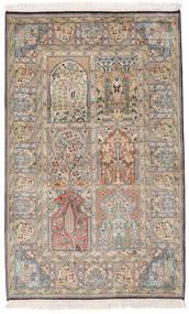 Kashmir Äkta Silke Matta 95X153 Äkta Orientalisk Handknuten Ljusbrun/Mörkgrå (Silke, Indien)