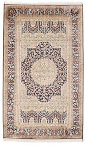 Kashmir Pure Silk Rug 94X156 Authentic  Oriental Handknotted Light Brown/Beige (Silk, India)